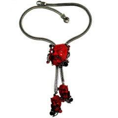 Famous Vintage Selro Red Devil Slide Pendants Necklace