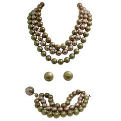 Rare Vintage Chanel 26 3-Strand Necklace & Jeweled Latch, Bracelet & Earrings