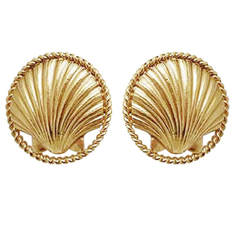 Chanel Sea Shell Earrings, 1980s  For Sale