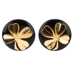 Chanel Vintage Clover Clip- on Earrings