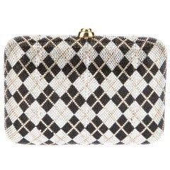 Judith Leiber Plaid Crystal Minaudiere Bag