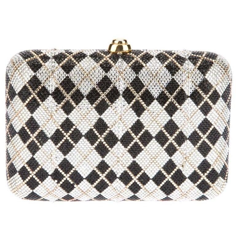 Judith Leiber Plaid Crystal Minaudiere Bag