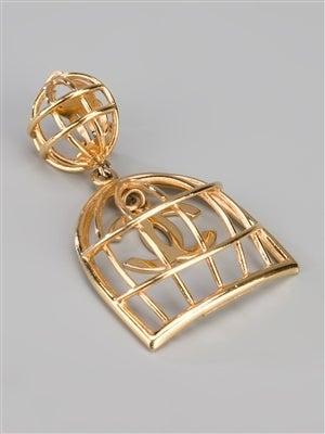 Chanel Vintage Gold Birdcage Earrings 2
