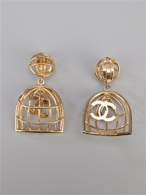 Chanel Vintage Gold Birdcage Earrings 3