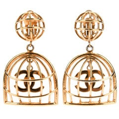 Chanel Vintage Gold Birdcage Earrings