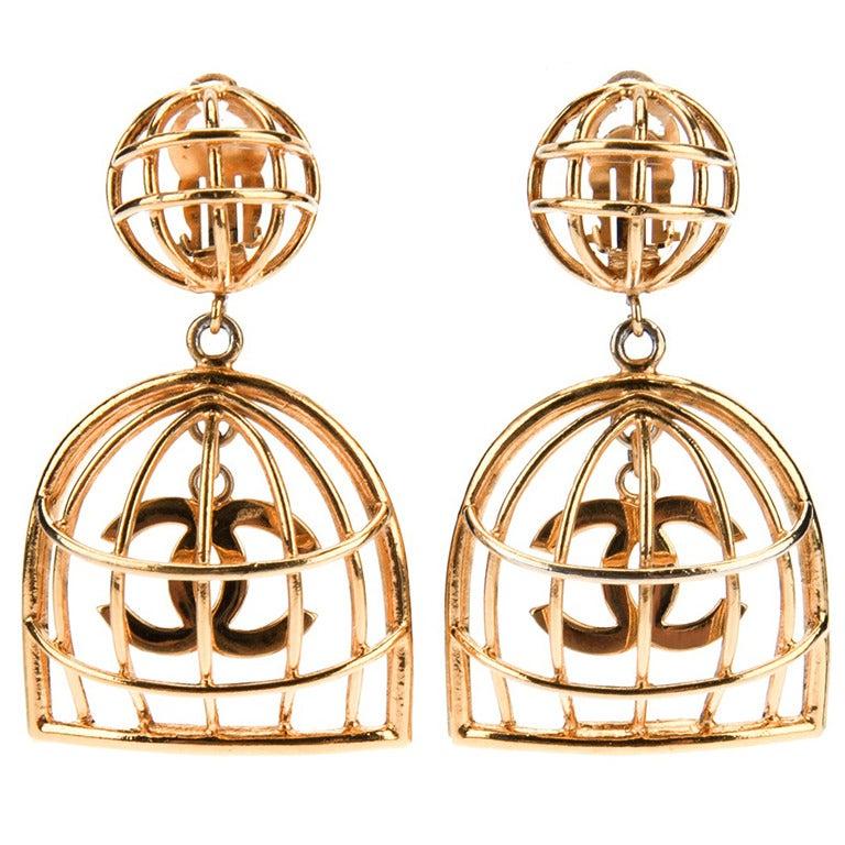 Chanel Vintage Gold Birdcage Earrings 1