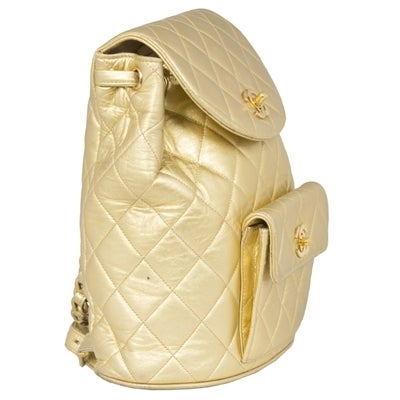Chanel Vintage Gold Quilted Backpack 2