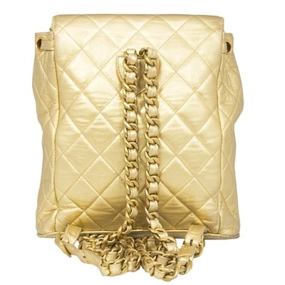 Chanel Vintage Gold Quilted Backpack 3