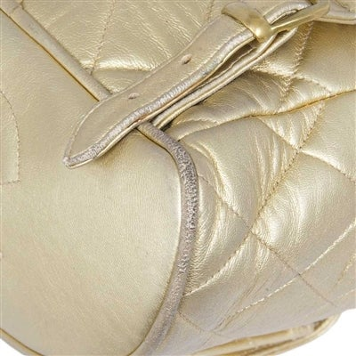 Chanel Vintage Gold Quilted Backpack 6