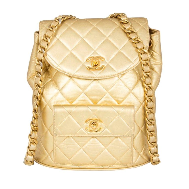 Chanel Vintage Gold Quilted Backpack 1