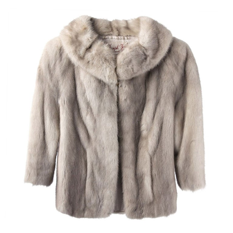 1950's Silver Mink Fur Coat For Sale at 1stdibs
