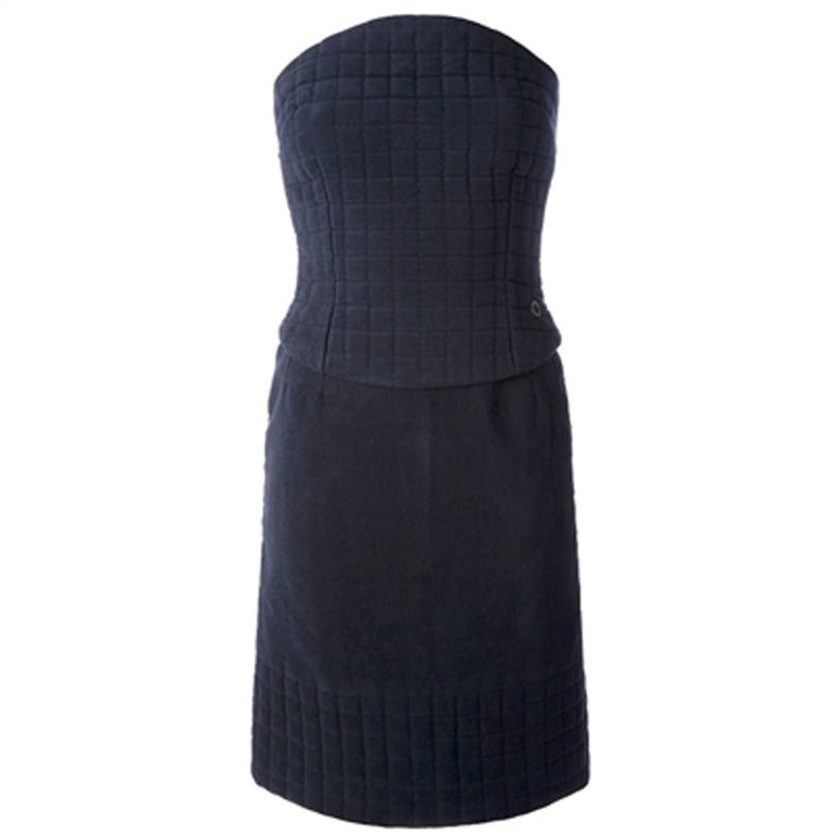 Chanel Vintage Quilted Bustier Top And Skirt Ensemble