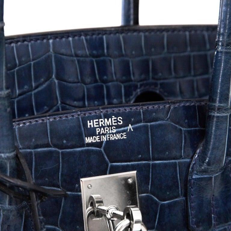 Women s Hermes 35cm Blue Roi Crocodile Birkin Bag For Sale 85d42ca15ffb9