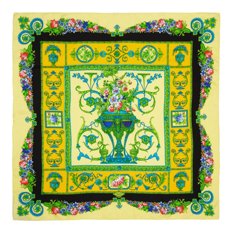 Versace Vintage Yellow Silk Scarf For Sale