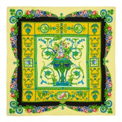 Versace Vintage Yellow Silk Scarf