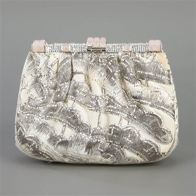 Gray Judith Leiber Vintage Embroidered Shoulder Bag For Sale
