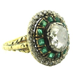 Antique Green Emerald Rose Cut Diamond Cluster Ring
