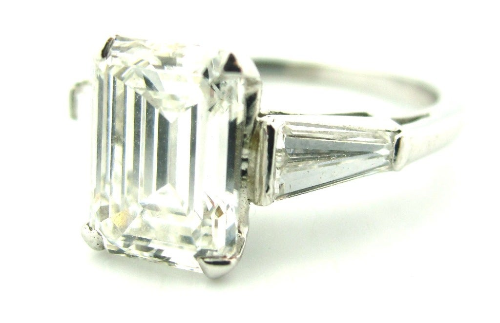 Classic 2 15 Carat Emerald Cut Diamond Engagement Ring Image 2