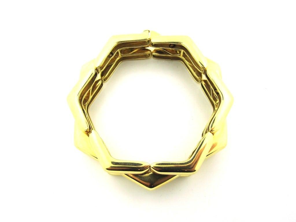 Rare Christian Dior Paris Geometric Gold Bracelet At 1stdibs