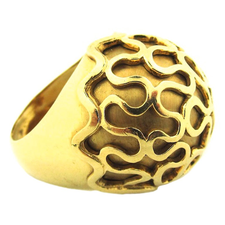 Unusual French Gold Dome Cocktail Ring At 1stdibs