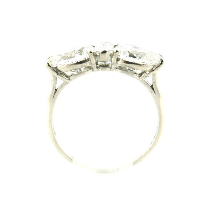 Unique Art Deco Diamond Platinum Three Stone Engagement Ring At 1stdibs