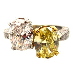 "GIA Certified Natural Fancy Yellow and White Diamond ""Toi et Moi"" Crossover Ring"