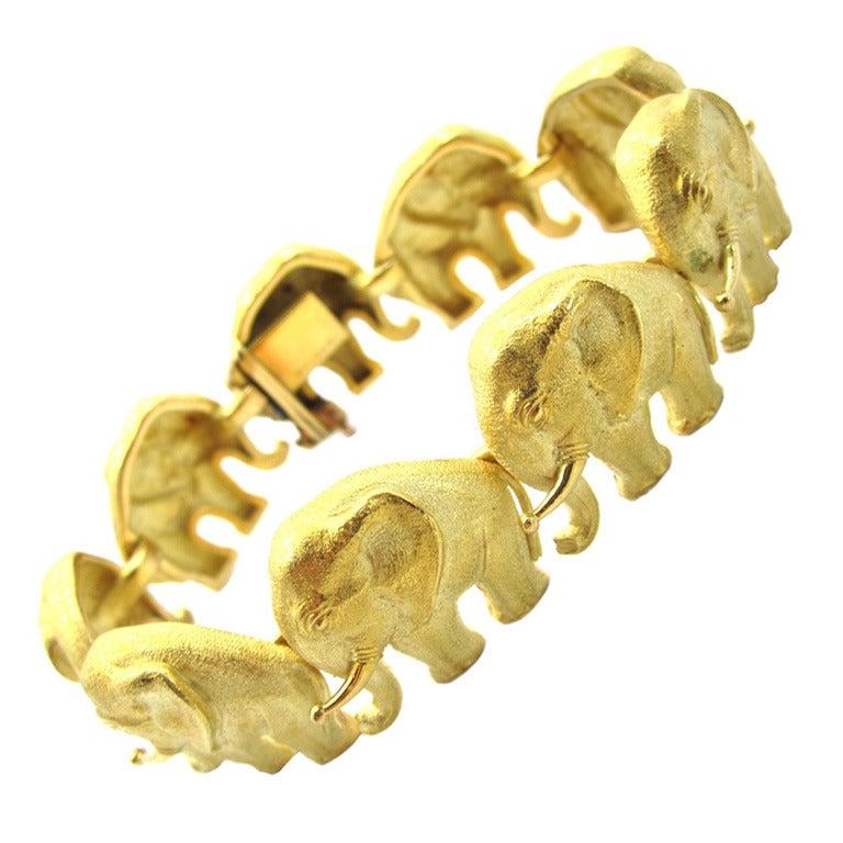 bulgari yellow gold elephant motif bracelet at 1stdibs