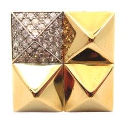 Geometric Pyramid Gold & Diamond Ring