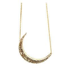 Late Georgian Era Rose Cut Diamond Silver Yellow Gold Crescent Pendant