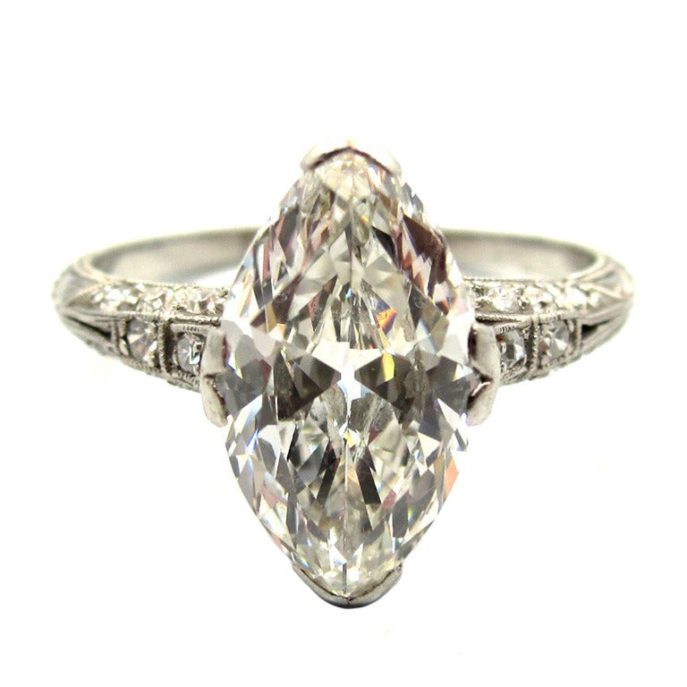 Elegant and Unique Edwardian Era 2 43 Carat Antique Marquise Cut Engagement R