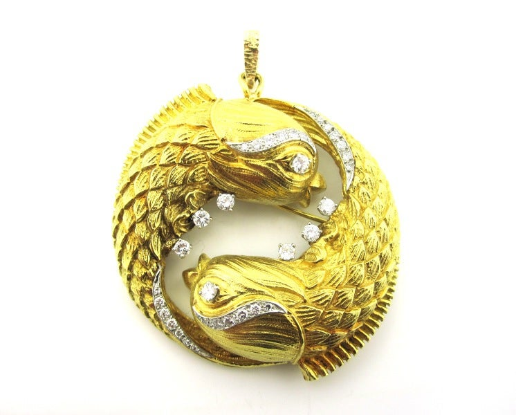 david webb and gold pisces pendant brooch at 1stdibs