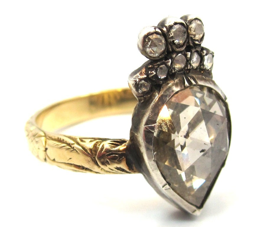 unique georgian era pear shaped rose cut diamond silver topped gold ring 2