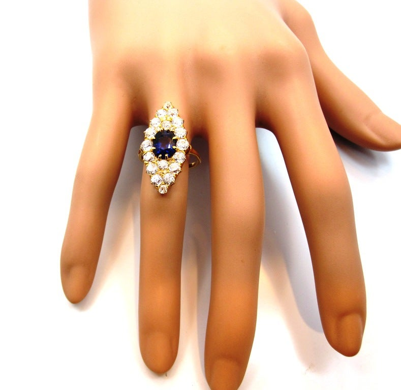 Victorian Era Sapphire Old Mine Cut Diamond Yellow Gold