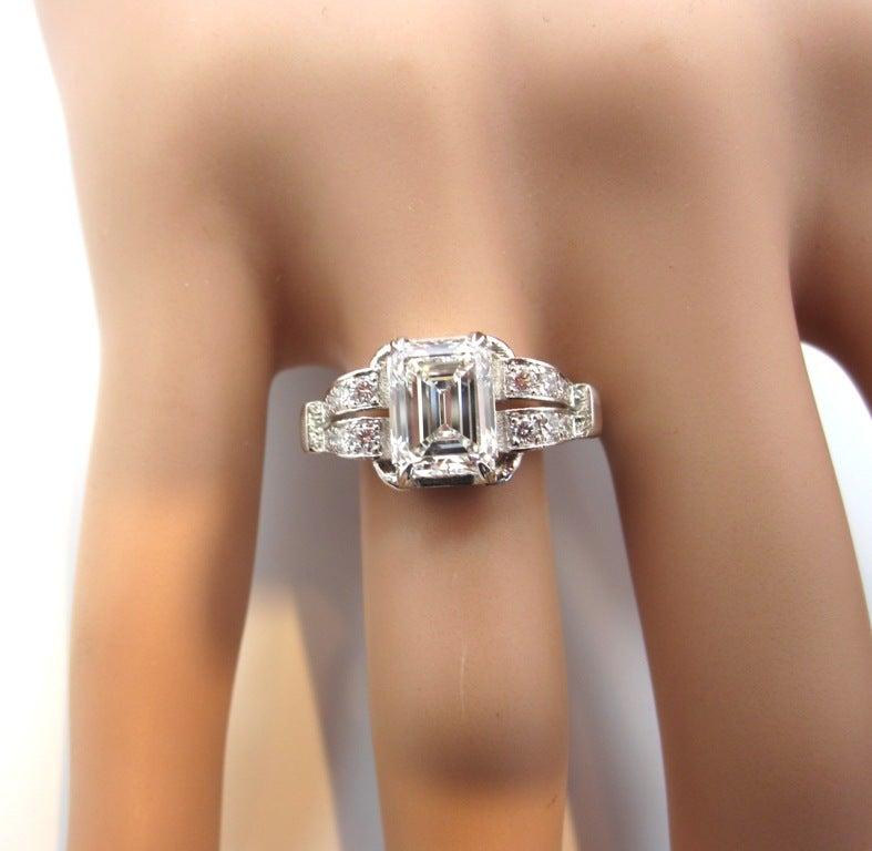 Art Deco Emerald Platinum Ring