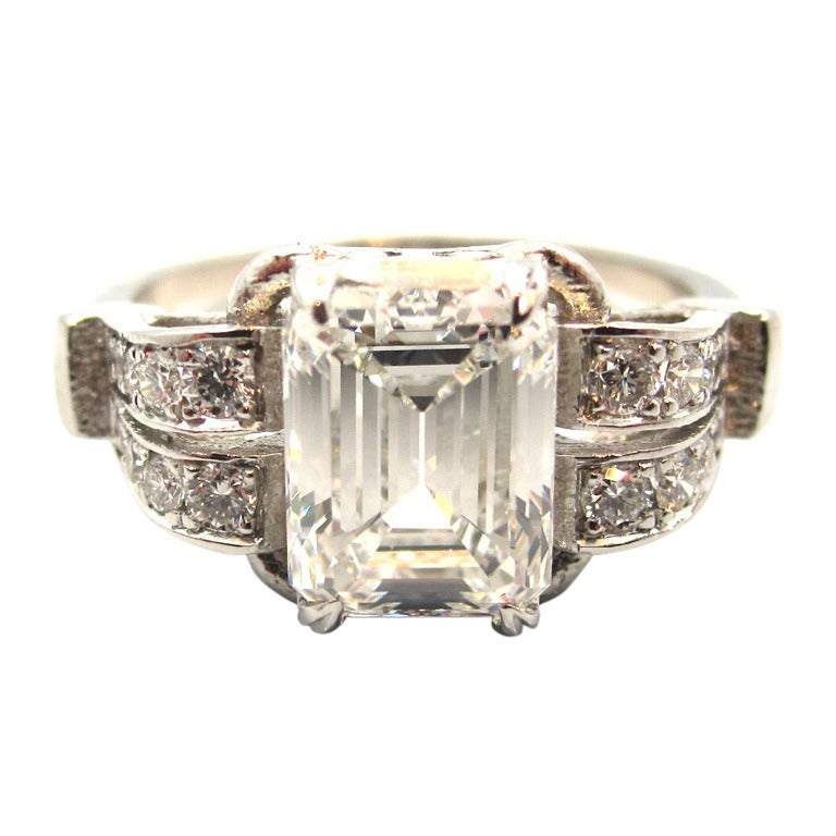 Timeless Art Deco 2 05 Carat Emerald Cut Diamond Platinum Engagement Ring