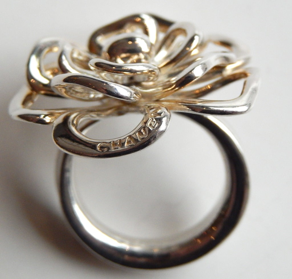 chanel camelia ring in sterling silver at 1stdibs