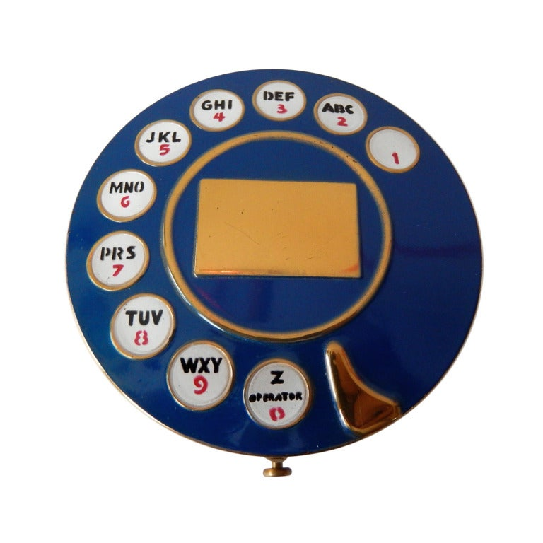 1950s Telephone Dial Powder Compact after Schiaparelli at 1stdibs