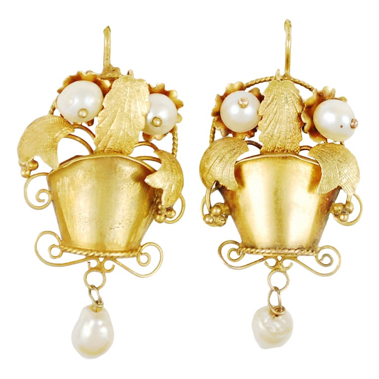 Antique Mexican Earring 18k Gold And Natural Pearls At 1stdibs