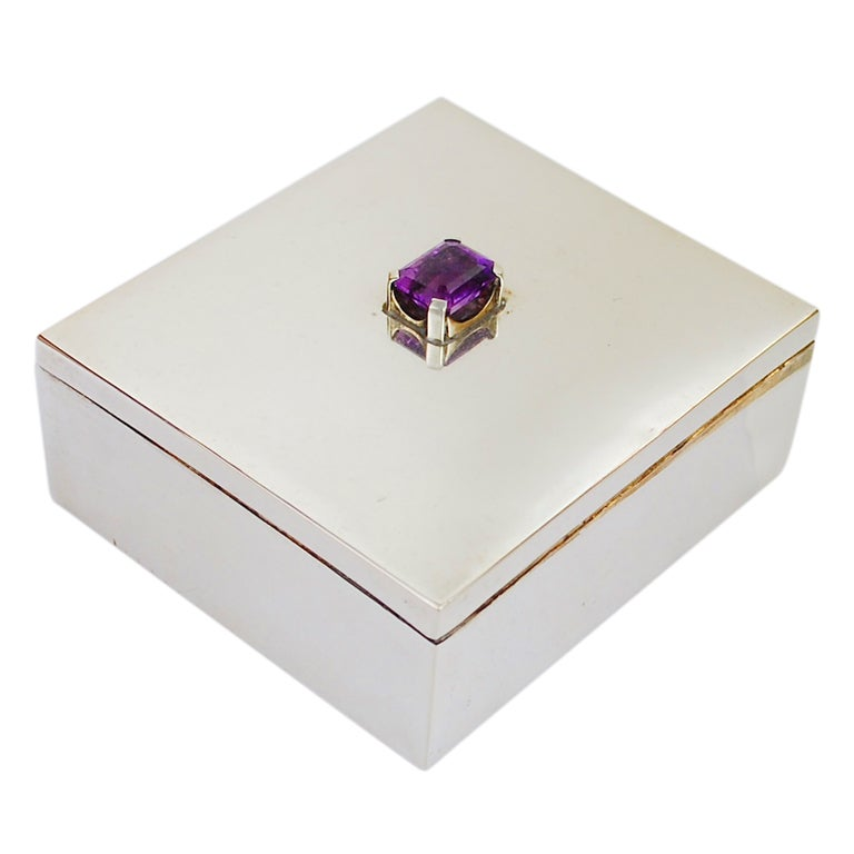 Fred Davis Mexican Sterling And Amethyst Box At 1stdibs