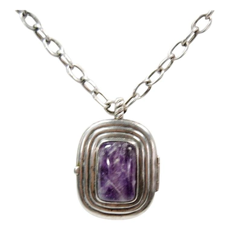 William Spratling Silver Mexican Amethyst Locket Necklace