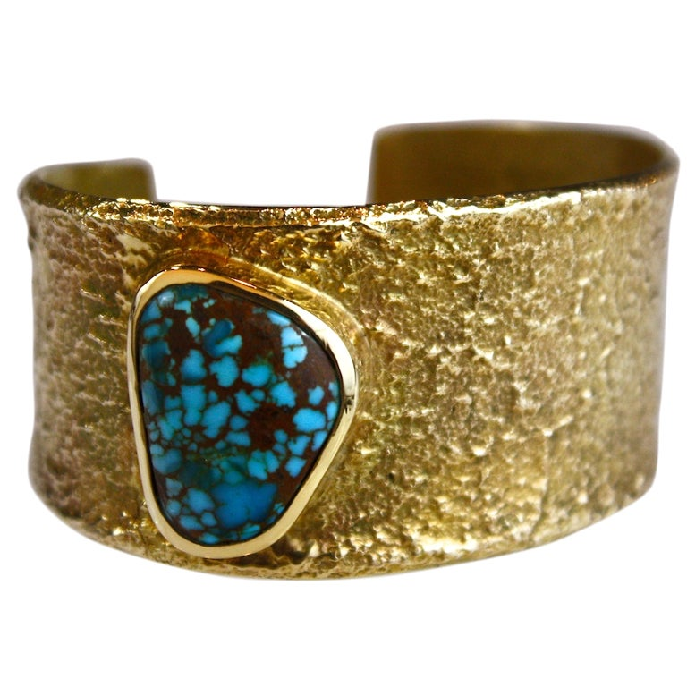 Charles Loloma Gold And Spiderweb Turquoise Cuff Bracelet