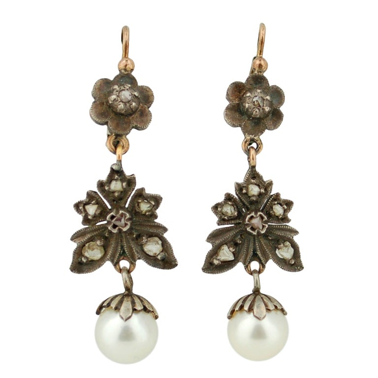 Antique Victorian Diamond Earrings Silver And Gold At 1stdibs