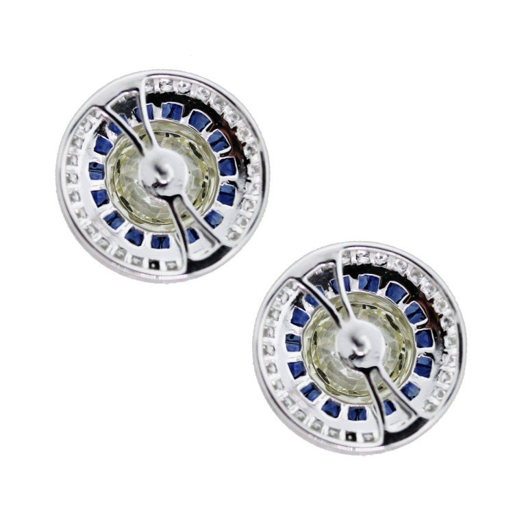 Contemporary Sapphire Diamond Platinum Earrings For Sale