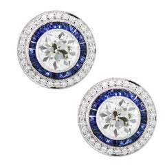 Sapphire Diamond Platinum Earrings