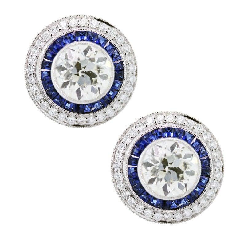 Sapphire Diamond Platinum Earrings 1