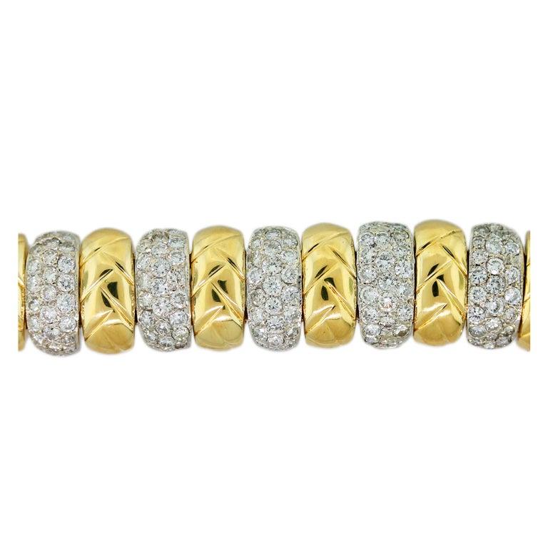 Diamond Pave Textured Yellow Gold Bracelet