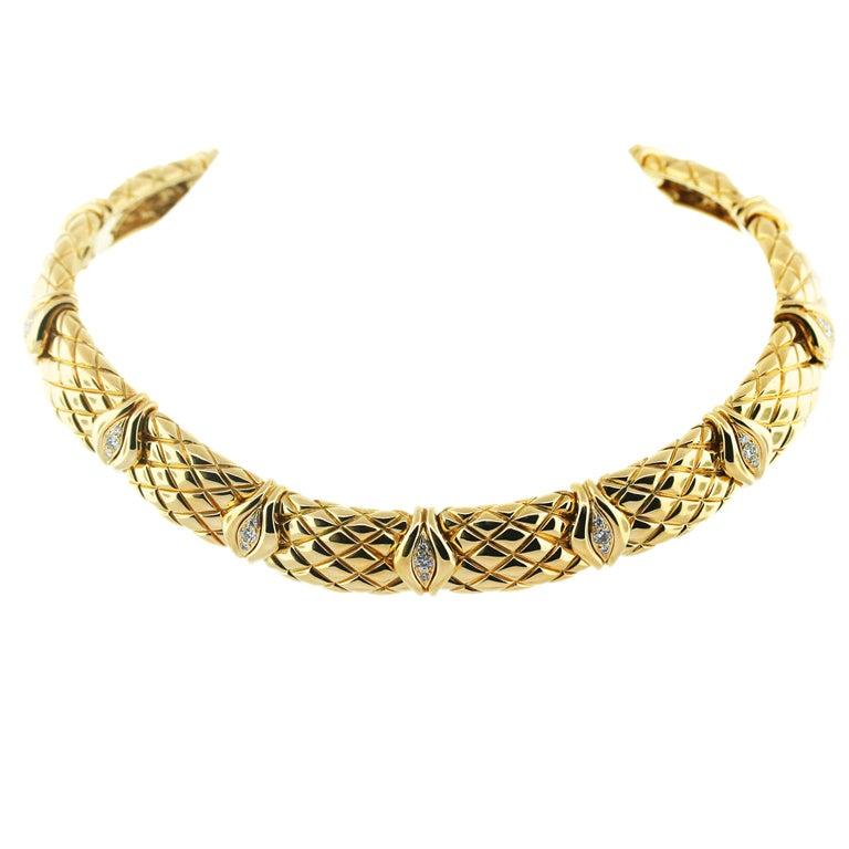 MAUBOUSSIN  Diamond Yellow Gold Choker Necklace
