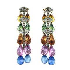 Fancy Color Sapphire Briolette Diamond Fringe Hoop Earrings