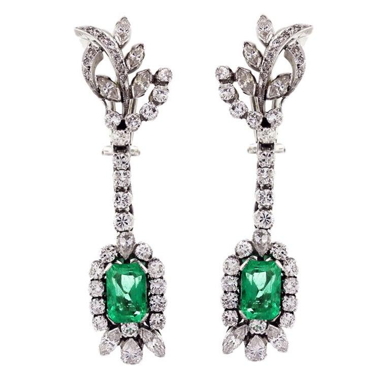 Emerald and Diamond Drop Earrings, emerald earrings, emerald diamond earrings first dibs