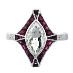 1 Carat Marquise Cut Diamond Platinum Ruby Engagement Ring
